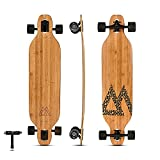 Magneto Bamboo Carbon Fiber Longboards Skateboards for Cruising, Carving, Free-Style, Downhill and Dancing | Kicktails Tricks Carver Drop Through | Great for Teens Adults Men Women