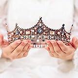 Handcess - Corona da regina, stile barocco, vintage, con strass, in bronzo, per donne e ragazze