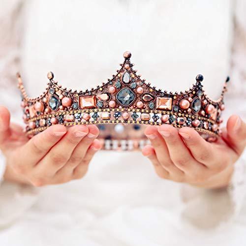 handcess Hochzeit Krone und Diadem Blume Brautschmuck Prinzessin Queen Krone Barock Vintage Strass...