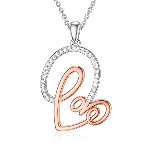 Sterling Silver Love Heart Pendant Necklace with Cubic Zirconia Jewellery Valentine's Day I Love You Gift for Women Girlfriend