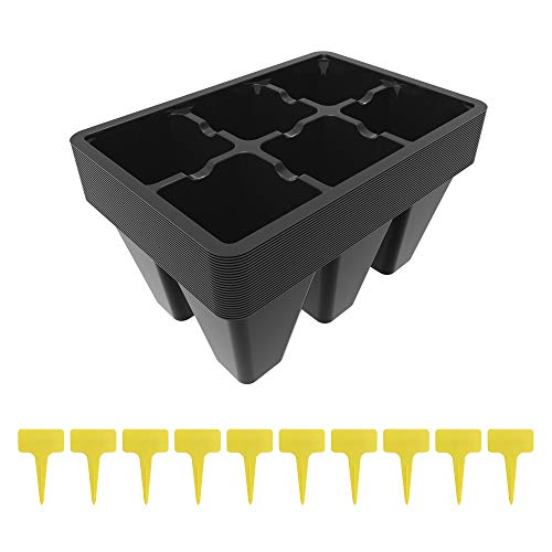 Gardzen Seedling Start Trays, 150 Cells, 6-Cell Per Tray, 25 Pack, Comes with 10 pcs Tags