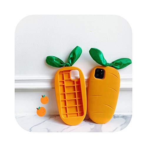 Carcasa para iPhone 7 con diseño de hojas verdes y zanahorias, color naranja
