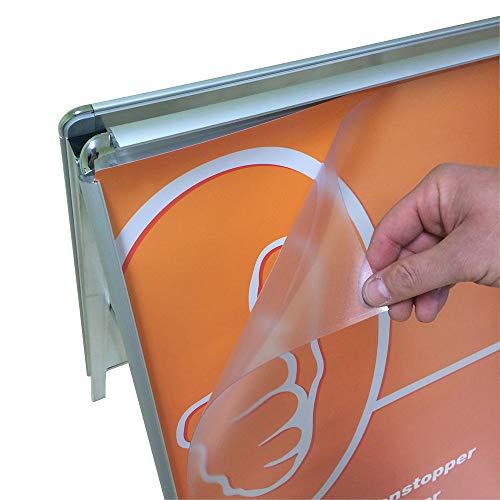 2x DIN A1 594 x 841 mm – Ersatzfolie Schutzfolie Folie für Kundenstopper, Plakatrahmen, Wechselrahmen, Klapprahmen oder Plakatständer – mit Antireflex und UV Schutz – Dicke 0,5mm.