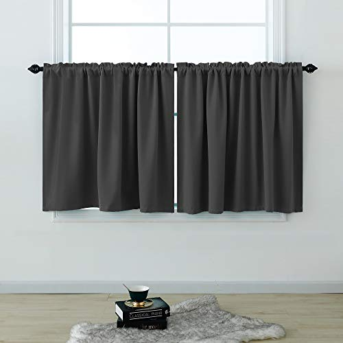 Grey Curtains 30 Inch Length for Basement Set 2 Panels Rod Pocket Cafe Tier Curtains Pair Blackout Short Room Darkening Curtains for Small Window Kitchen Bedroom Bathroom Charcoal Dark Gray 52x30 Long