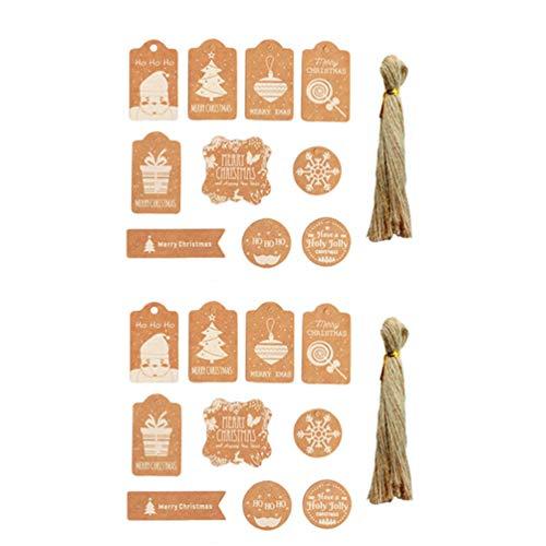 TOYANDONA 100 Stück Weihnachtskraft Geschenkanhänger Weihnachten Hängende Geschenkanhänger mit Juteschnur-Etikettenpaket-Namenskarten für Weihnachtsverpackungszubehör