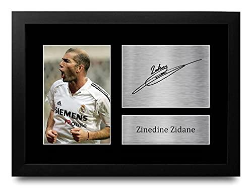HWC Trading Zinedine Zidane A4 Enmarcado Regalo De Visualización De Fotos De Impresión De Imagen Impresa Autógrafo Firmado por Real Madrid Los Aficionados Al Fútbol