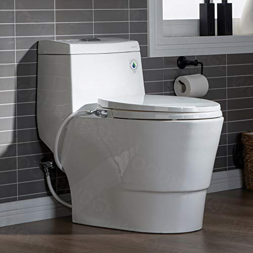 WOODBRIDGE T-0042 One Piece 1.1GPF/1.6 GPF Dual Flush Elongated Toilet with Non-Electric Bidet Seat in White
