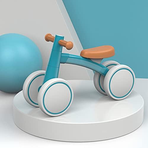 WJS Bicicleta Sin Pedals Bicicleta De Equilibrio,Bici Sin Pedales Niño,Bicicleta Bebe,Bici Bebe Adecuado para Bebés De 1,2,3 Años,Correpasillos Bebe,4 Ruedas,Ultraligera(Color:Blue)