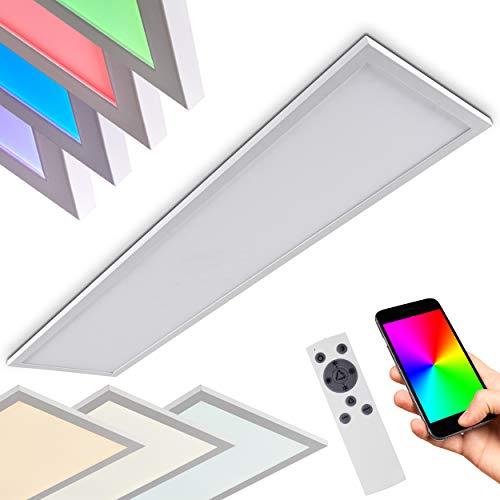LED Deckenpanel Salmi, dimmbare Deckenleuchte aus Aluminium in Weiß, 48W, 3000-6000 Kelvin, m. RGB-Farbwechsel, bedienbar über Smartphone-App (iOS & Android), Sprachsteuerung o. Fernbedienung