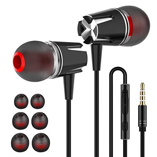 Earbuds, in-Ear Headphones Earphones with 3.5mm Jack Heavy bass Earphone Call with Mic Stereo Earbud Metal Headphones (Black Silver)…