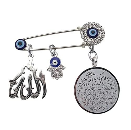 GOY Broche de metal con colgante de mano de Fátima del Islam musulmán Alá turco del mal de ojo