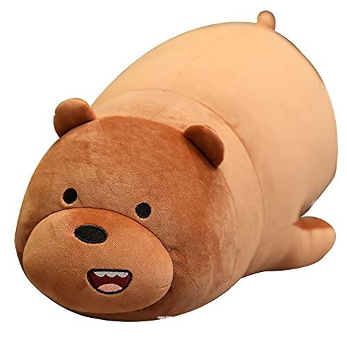 Let's Bare Bears Muñeco de Tres Osos Almohada Panda súper Suave Cama de Peluche con Regalos para niñas durmientes Oso Desnudo de 28 cm acostado Oso Pardo