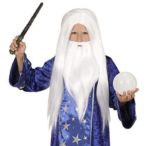 Peluca de mago con barba, blanca.