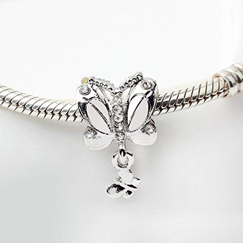 2019 New Original Bead Alloy Spring Butterfly Clover Bella Bot Charm Fit Dropship Bracelet Bangle Necklace DIY Women Jewelry-Silver Butterfly