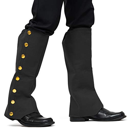 Skeleteen Faux Suede Steampunk Boots - Over The Shoe Black Costume Boots Accessories with Gold Buttons for Medieval and Renaissance Costumes for Adults