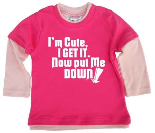 Dirty Fingers, I'M Cute, I Get It. Maintenant Put Me Down, Patineuse pour bébé, Top - Rose - XXXXS
