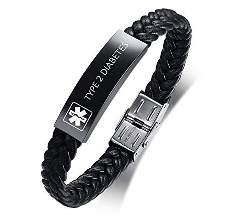 XUANPAI Custom Edelstahl Leder Geflochten Wrap Armband Medical Alert Notfall ID Armband für Männer mit Type 2 Diabetes Eingraviert