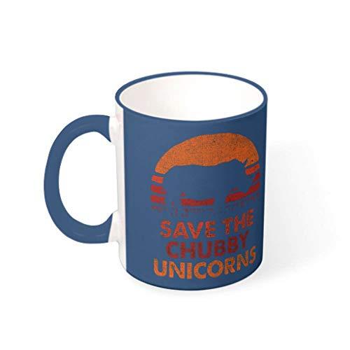 WOSITON Taza de cerámica con diseño de unicornio «Save the Gordito», para cumpleaños, 330 ml, color azul medianoche