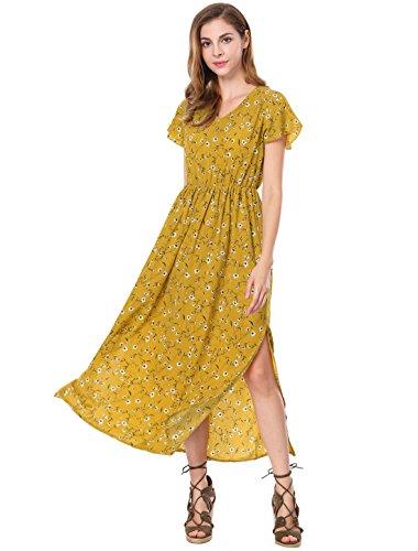 Vestido amarillo largo con flores