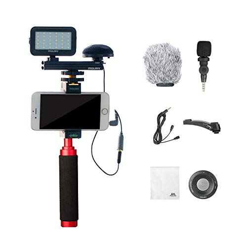 Mouriv PV-2 Kit de video para smartphone con Grip Rig, micrófono omnidireccional, luz LED y control remoto inalámbrico para YouTube Vlogging Facebook para iPhone 6, 7, 8, X, XS, Samsung Galaxy Phone