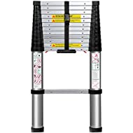 Telescoping Ladder 12.5 FT Extension Telescopic Ladders - Lightweight Aluminum Portable Best for Multi-Use in Home Attic & RV Work Expandable Retractable - Foldable with One Button Collapsible Folding