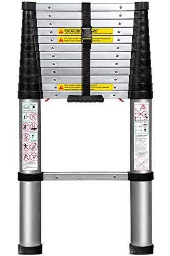 Escalera De Extensión Telescópica De Aluminio (12,5 Ft. Telescopio) - Certificado EN131 - Telescópico Extensible Extensible Con Mecanismo De Bloqueo De Carga De Resorte Antideslizante - Capacidad Máxima De 330 Lb