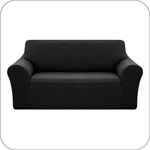 Amazon Brand - Umi Fundas para Sofa Funda Sofa 2 Plazas Elasticas Anti Gatos Funda Protectora para Salon Negro