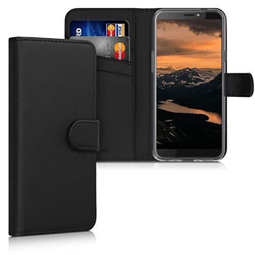 kwmobile Wallet Hülle kompatibel mit HTC Desire 12s - Hülle Kunstleder mit Kartenfächern Stand in Schwarz