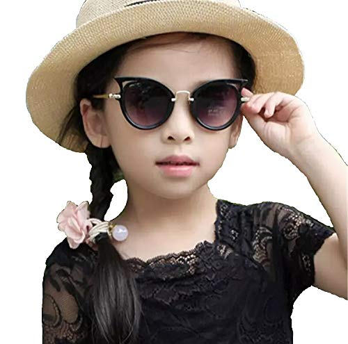 Ziory Girl's Oval Cat Eye Outdoor Safety Sunglasses (One size , 1951, Black)
