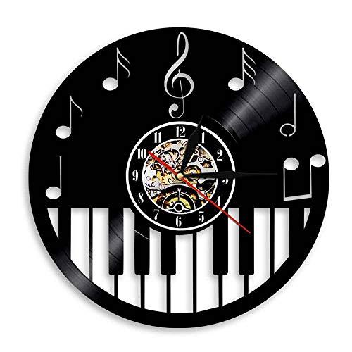 SKYTY Piano Instrumento Musical Disco De Vinilo Reloj De Pared Notas Musicales Partituras Reloj Moderno-no led Light