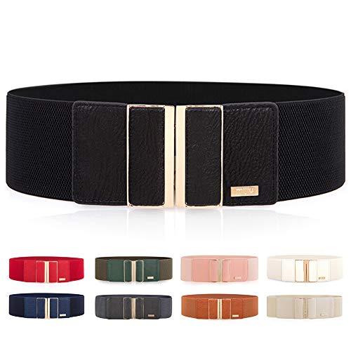 Cinturones elásticos para mujer, cinturones anchos, cinturones para vestido, cinturones finos con hebilla metálica muy brillante en varios colores
