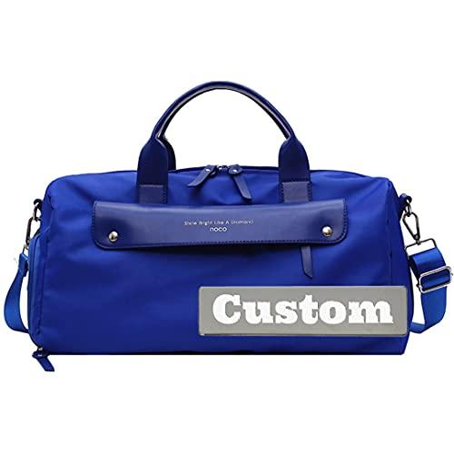 FireH Nome personalizzato Impermeabile Duffel Borsa da viaggio Grande Scomparto da uomo Gym Shoe Bag Beach Tote Travel (Color : Blue, Size : One size)
