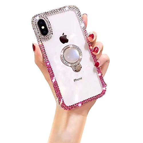 Yobby Hülle für Xiaomi Redmi Note 8,3D Glitzer Bling Handyhülle mit Ringhalter,Glänzend Kristall Durchsichtig Strass Diamant Mädchen Frauen Schutzhülle für Xiaomi Redmi Note 8-Weiß/Rosa