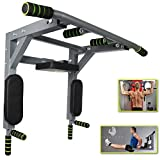 Fitsterr Pull Up Bar Wall Mounted - Easy to Install Wall Mount Pullup with Pro Jumping Rope, Resistance Bands Set - Extra Durable One-Piece Multi-Grip Chin Ups Dip Bar Supporting Up to 550 Lbs Weight