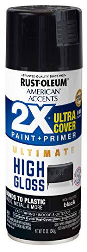Rust-Oleum 328374 American Accents Spray Paint, 12 Oz, High Gloss Black