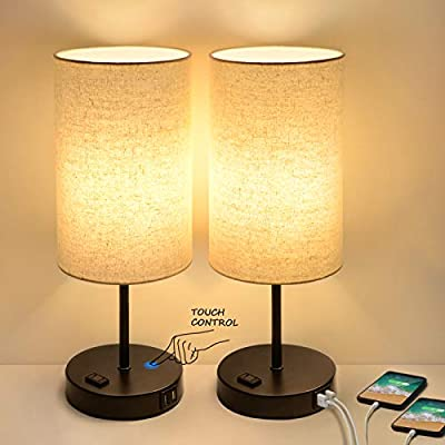 Set of 2 Touch Control 3-Way Dimmable Table Lamp with 2 USB Ports Modern Nightstand Lamp with AC Outlet Bedside Lamps with Fabric Shade Desk Lamp for Living Room Bedroom Hotel, Cream, Bulbs Included