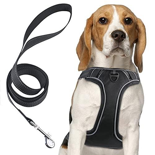 URAQT Brustgeschirr Gepolstert Hund, Weich Geschirr Einstellbar mit Leine für Hund, Laufgeschirre Schwarz für Haustier - S