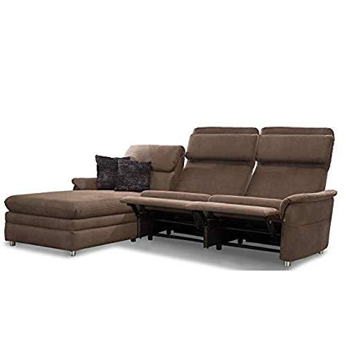 Cavadore Chalsay Sofaecke mit Longchair links inkl. Relaxfunktion und verstellbarem Kopfteil / mit Federkern / Eckcouch im modernen Design / Größe: 252 x...