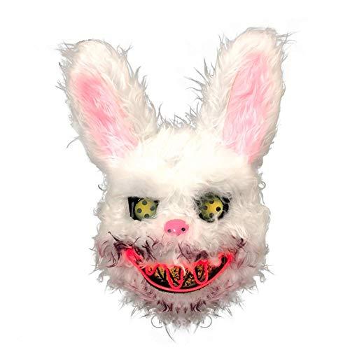 Halloween Maske Herren -32,99 X 26,00 X 12,72 Cm, Leuchtende Kaninchenmaske, 7 Farben Erhältlich, Blutig Gruselige Böse Blut Tier Halloween Maske, Verwendet Für Halloween Maskerade Cosplay
