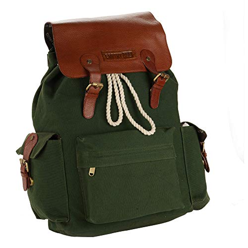 Earthy Fab Backpack for 16 Inches Laptop. Vintage Rugged Look. Canvas Leather Laptop Bag.