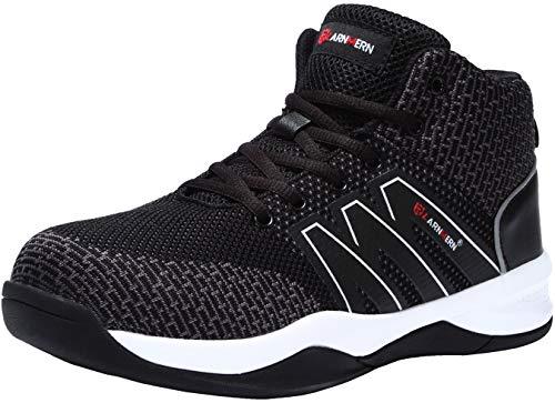 LARNMERN Stahlkappe Sicherheitsschuhe, Herren luftdurchlässige Leichte Anti-Smashing Schuhe Industrie und Handwerk (44 EU, Schwarz)