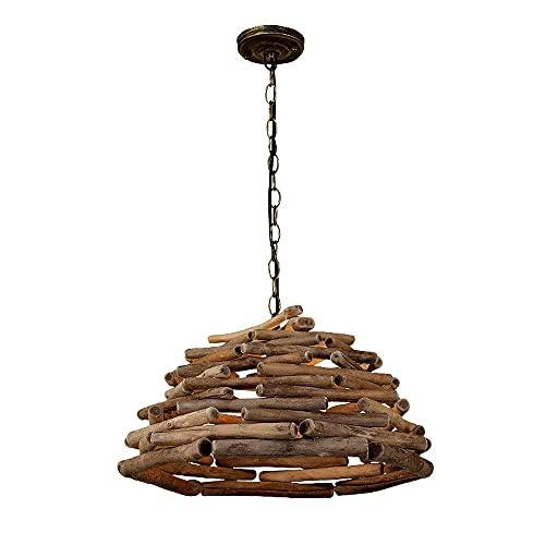 WEM Novedad Candelabro decorativo, Candelabros creativos de madera natural Iluminación de techo de madera retro Lámpara colgante Tronco nostálgico Salón de té Mesa de comedor Pastoral Luces colgantes