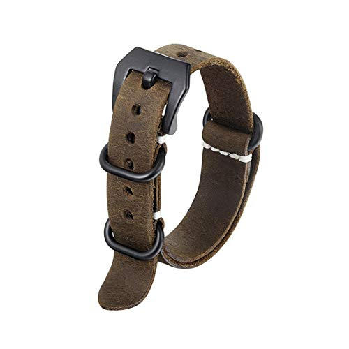 20mm/24mm Lederband Militär NATO-Uhrenarmband-Uhrenarmband-Wearable One-Piece-Uhrenarmband Kaffee, 22mm