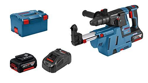 Bosch Professional 18V System Akku Bohrhammer GBH 18V-26 F (2,6 J, SDS plus, inkl. 2x5.5 Ah ProCORE18V Akkus, Ladegerät GAL 1880 CV, Staubabsaugung GDE 18V-16, in L-BOXX 238)
