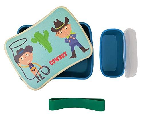 Fiambrera de Bambu Infantil ♻ Pack Tuper y Sandwichera de Fibra de Bambú - Material Ecologico, Reciclable, Biodegradable y Ligero - Apto para Lavavajillas - Lonchera Eco, Bio, Sin BPA - Ideal niños