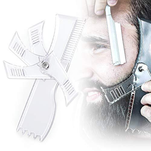 Bartschablonen, Bartpflege Bartschablone für Bartformen für Kinnbart Koteletten Hals, Bartkamm Styling Tool Symmetrische Bartschablonen und Kontur der Bartlinie, Einstellbar