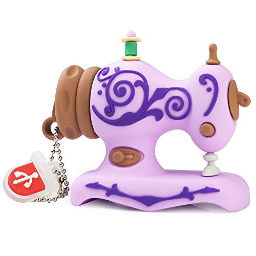 BorlterClamp 32GB USB Flash Drive Cute Cartoon Sewing Machine Model Memory Stick, Gift for Students and Children (Purple)