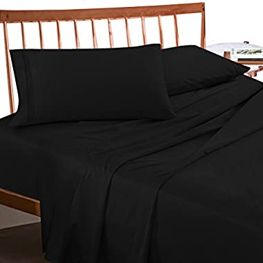 Premium Full (Double) Size Sheets Set - Black Hotel Luxury 4-Piece Bed Set, Extra Deep Pocket Special Super Fit Fitted Sheet, Best Quality Microfiber Linen Soft & Durable Design + Better Sleep Guide