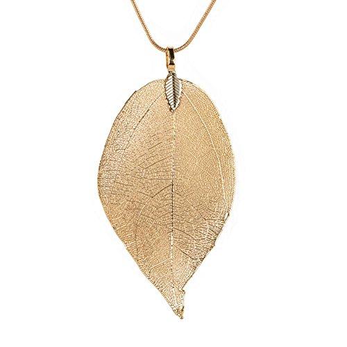 Cadena de LCLrute con colgante especial de hoja, para mujer, larga, dorado