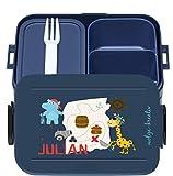 wolga-kreativ Brotdose Pirat Nilpferd Giraffe mit Namen Mepal Obsteinsatz für Mädchen Lunchbox Bento Box personalisiert Brotbüchse Brotdosen Kindergarten Schule